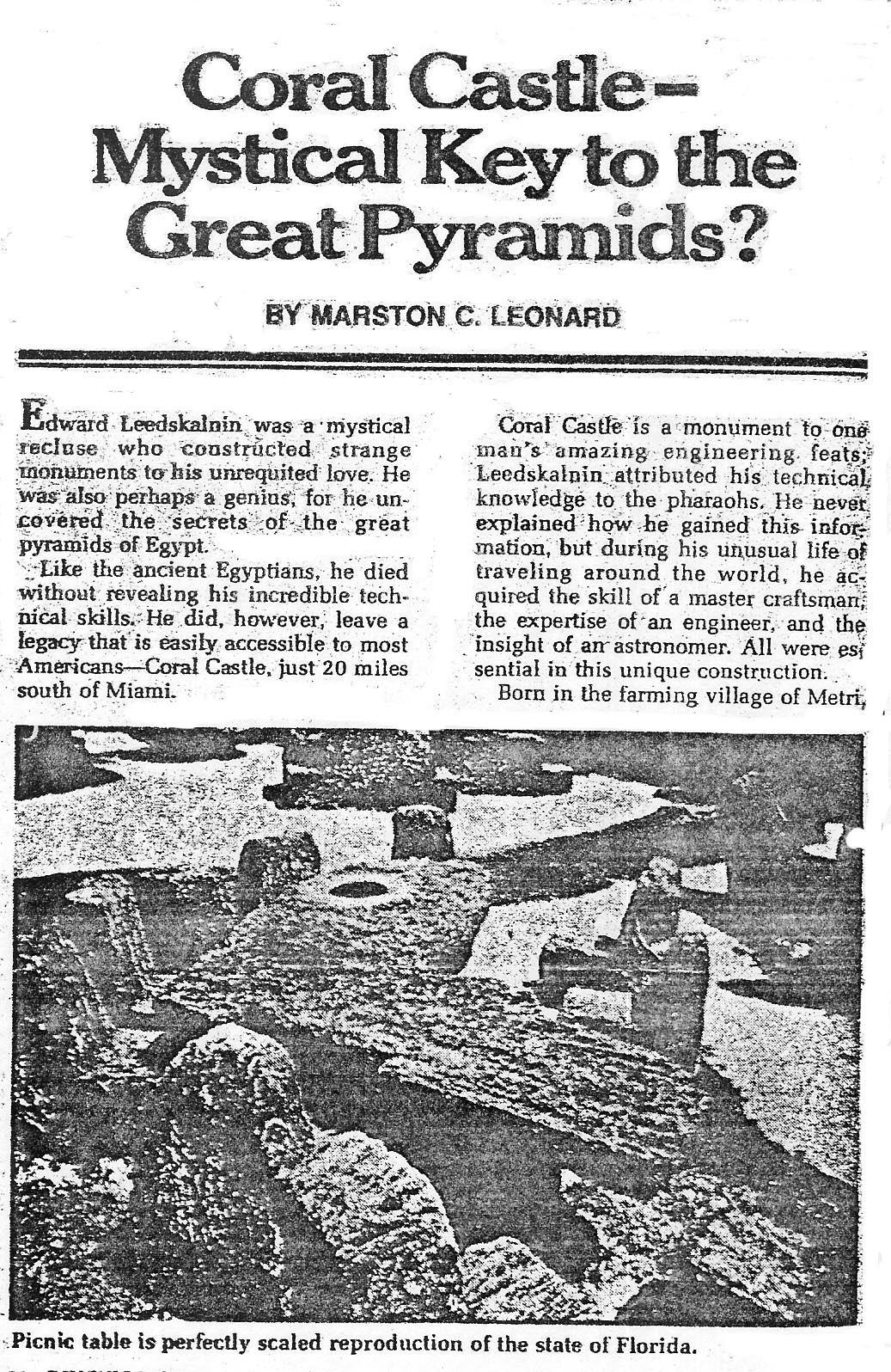 M. C. Bob Leonard article on Coral Castle in Floirida