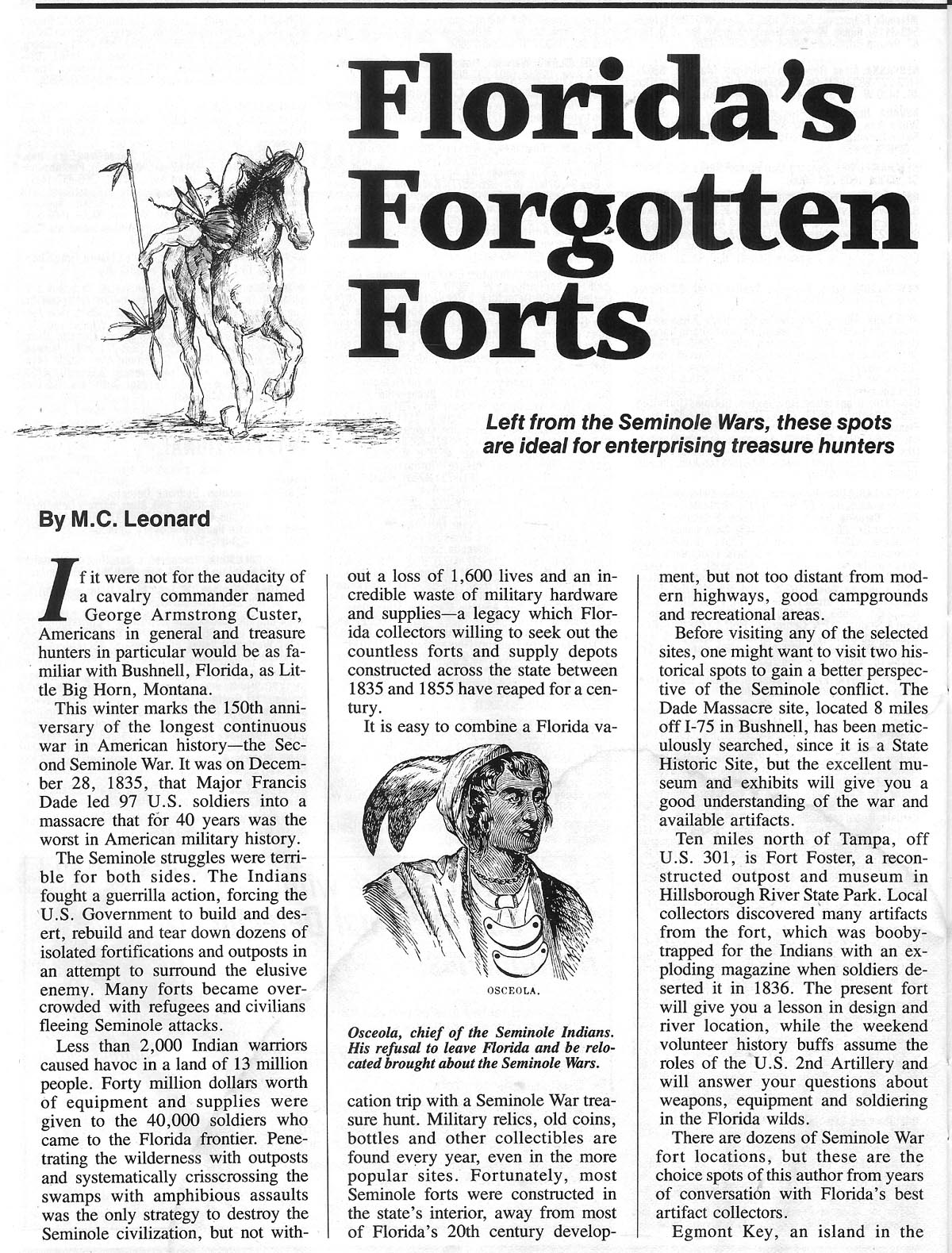 Article on Florida treasure sites by M. C. Bob Leonard